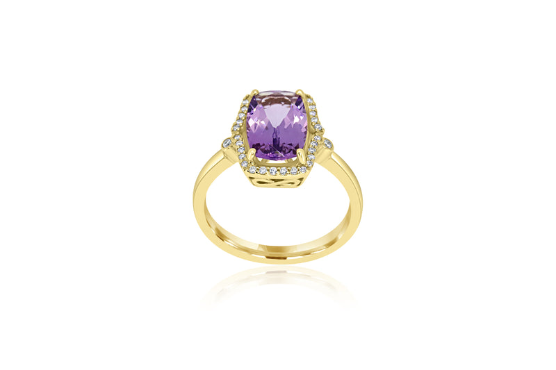 9k Yellow Gold Diamond-Accented Amethyst ring