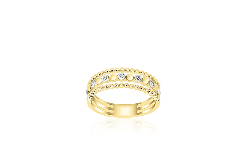 9k Yellow Gold 2-band 7-stone Diamond Ring