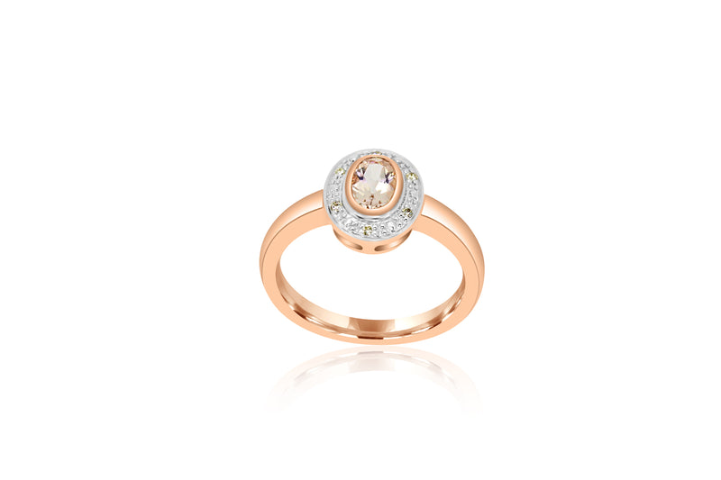 9K Rose Gold Diamond-Accented Morganite ring