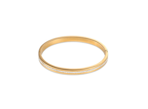 Coeur De Lion CL BRACELET 17CM ST/ST GOLD PLATED WITH PAVE SET CRYSTALS & CLICK CLOSURE
