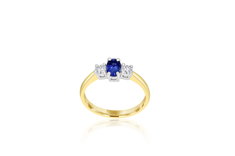 18k Yellow Gold 3-stone Ceylon Sapphire & Diamond Ring