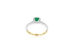 18k White Gold & Yellow Gold 2-tone Emerald & Diamond ring