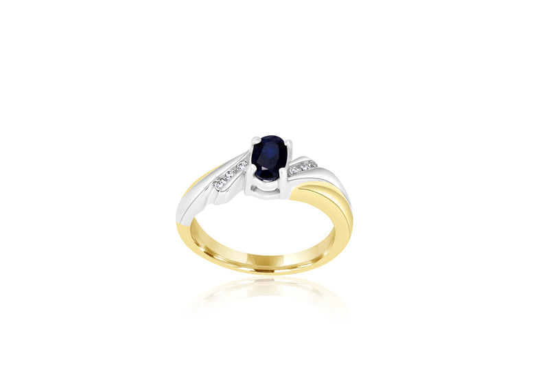 9k Yellow Gold & White Gold 2-tone sapphire & diamond ring