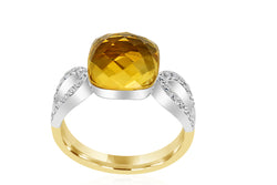 18k Yellow Gold & White Gold 2-tone Diamond Accented Citrine Dress Ring