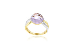 18k Yellow Gold & White Gold 2-Tone Amethyst & Diamond Ring
