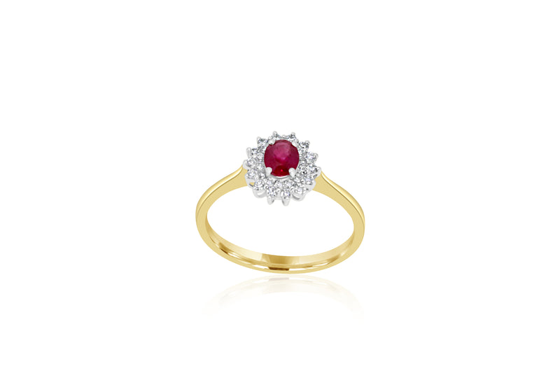 18k Yellow Gold Cluster Ruby & Diamond Ring