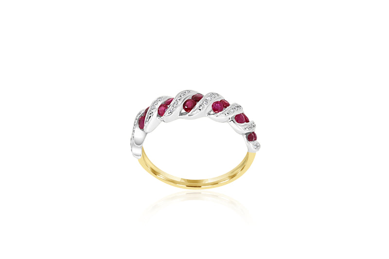 18k Yellow Gold & White Gold 2-tone Ruby & Diamond Ring