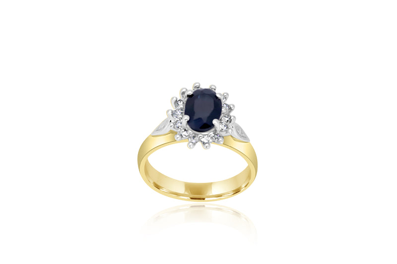 9K Yellow Gold & White Gold 2-tone Sapphire & Diamond Cluster Ring