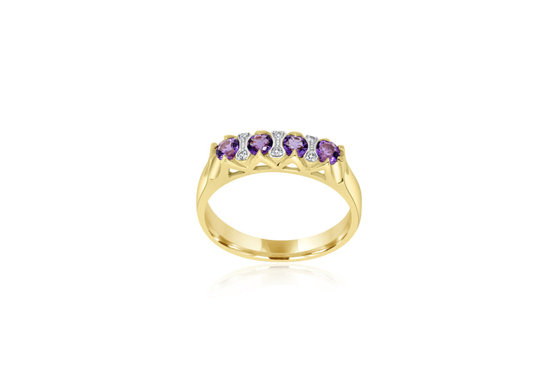 9k Yellow Gold Diamon-Accented Amethyst Ring
