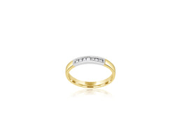 18k Yellow Gold & White Gold 2-tone Multi-stone Princess Cut Channel Set Diamond Ring
