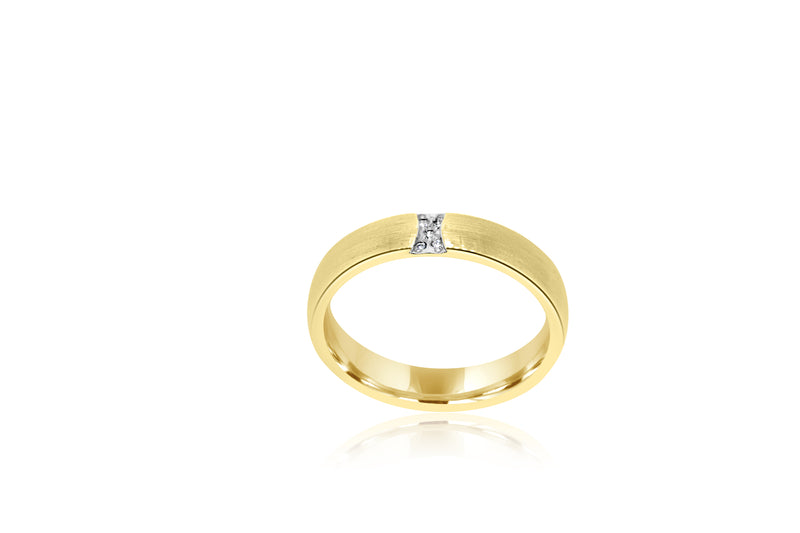 9k Yellow Gold Matt Diamond Ring / Wedder 4.5mm