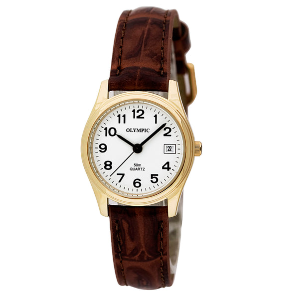 Olympic Ladies Watch Date 12 Figure Brown Strap