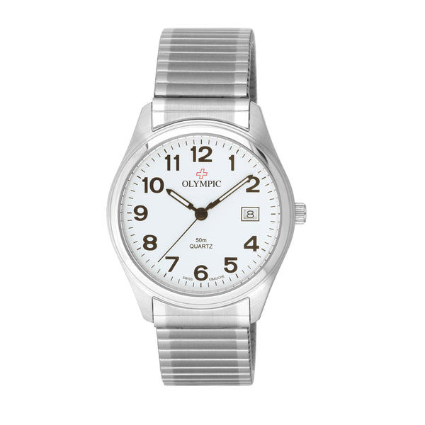 Olympic Mens Watch White 12 Fig Dial, Date, Expander, Steeel 50m