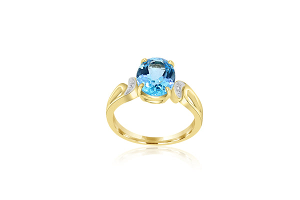 9k Yellow Gold Blue Topaz Ring