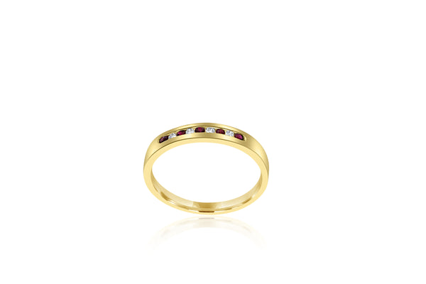 9k Yellow Gold Ruby & Diamond Ring