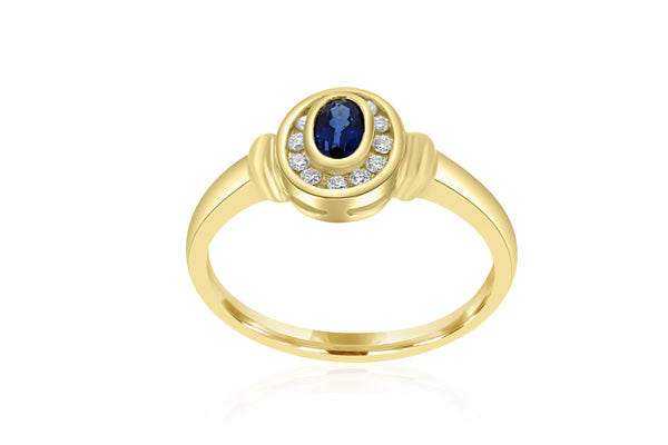 9k Yellow Gold Oval Sapphire & Diamond Dress Ring
