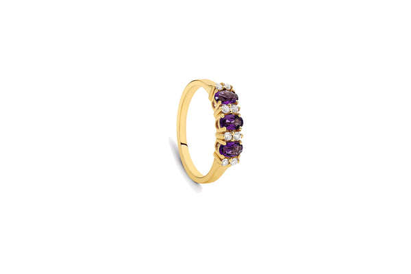 9ct Yellow Gold Diamond-Accented Amethyst Ring