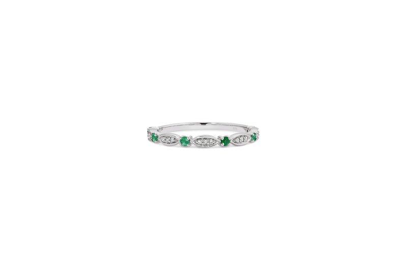 9ct White Gold Emerald & Diamond Ring / Stacker