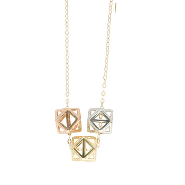 9K Gold Tri Pendant with Chain 45cm