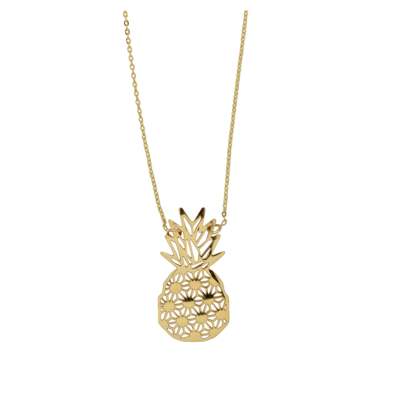 9k Yellow Gold Pineapple Necklace with display chain 45cm