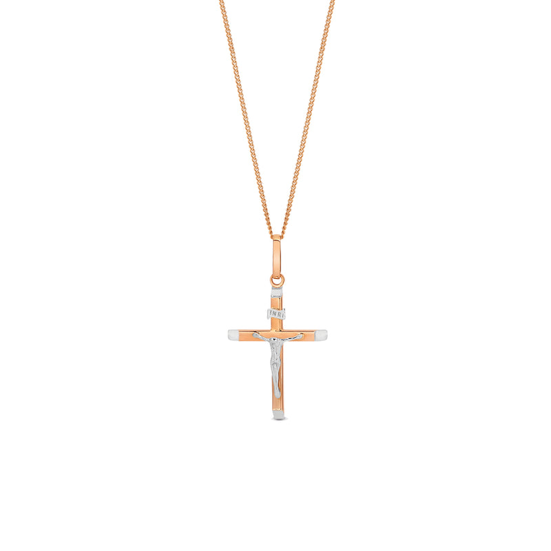 9K Rose Gold & White Gold Bi-Tone Crucifix Cross Pendant