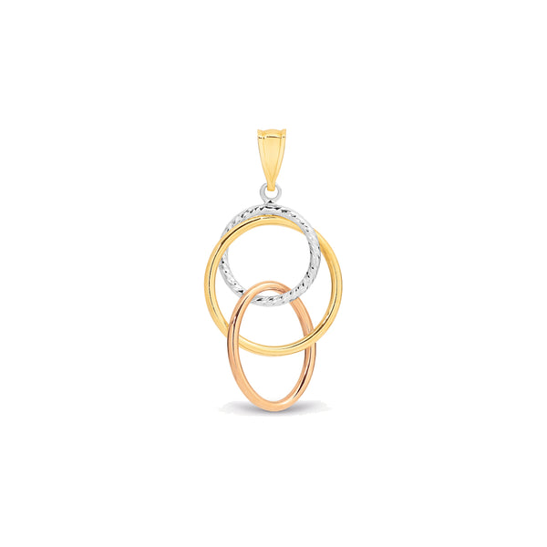 9k Yellow Gold & White Gold & Rose Gold Tri-Tone 3-Circle Pendant