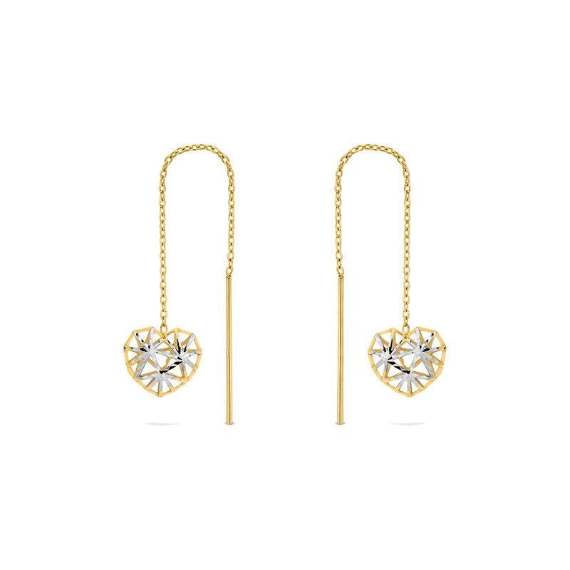 9k Yellow Gold Thread Earrings with Rhodium PL