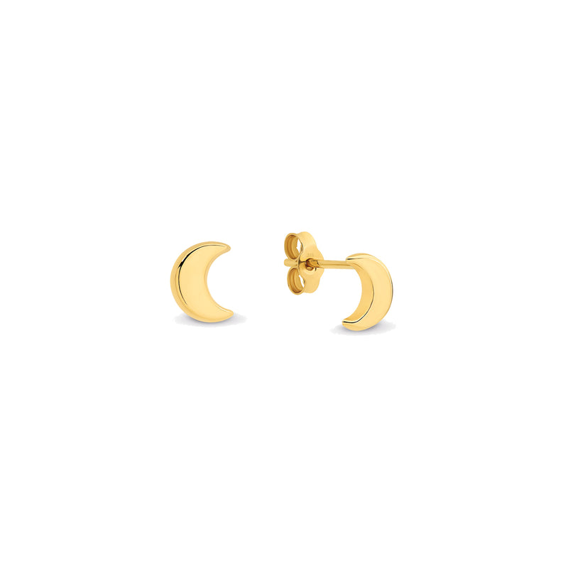 9k Yellow Gold Moon Stud Earrings