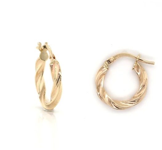 9K Yellow Gold Twisted Textured Hoop Earrings