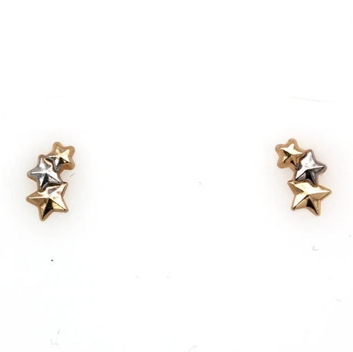 9k Yellow Rose & White Gold Tri Tone Star Stud Earrings