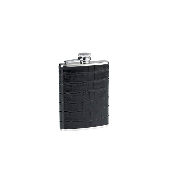 Cudworth 4oz Black Croc Leather Flask