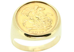 9K YELLOW GOLD HALF SOVEREIGN PLAIN RING WITH COIN