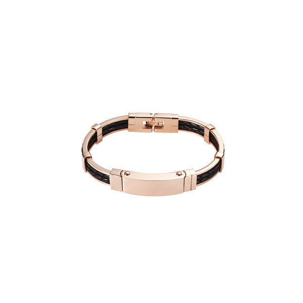 Cudworth IP Rose Gold/ Steel Leather Bracelet