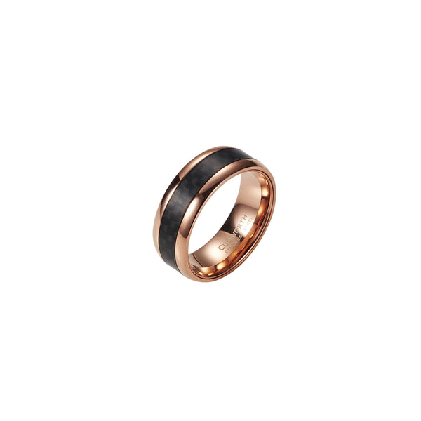 Cudworth Stainless Steel / IP Rose Gold/ Carbon Fibre Ring