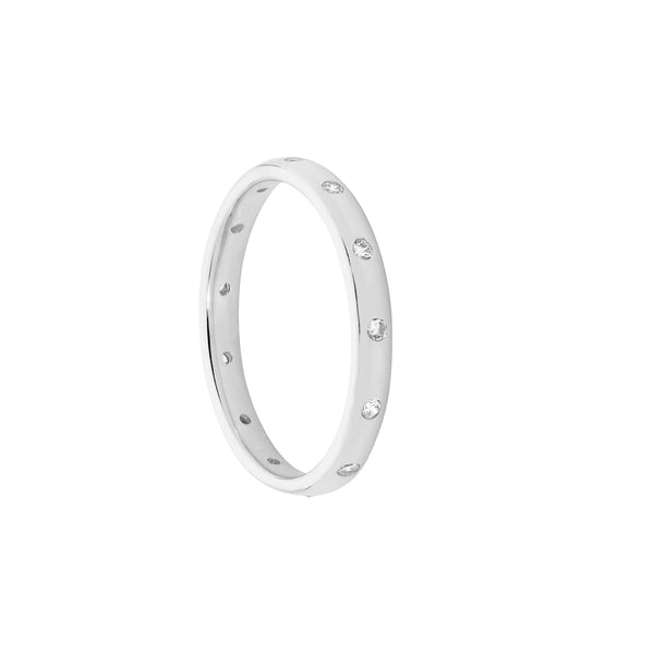 Ellani Stg Silver white CZ Hammer set eternity ring
