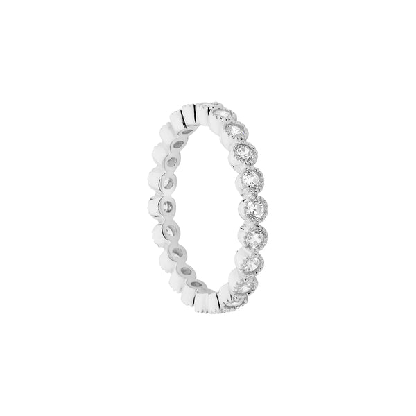 Ellani Stg Silver white CZ crown set eternity ring