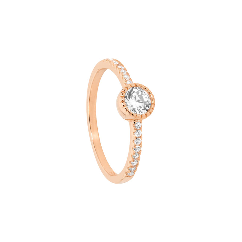 Ellani SS 5mm white CZ crown set solitaire ring with CZ band & Rose gold plated