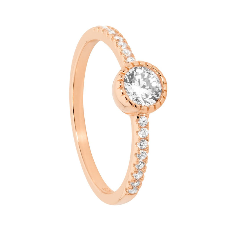 Ellani Stg Silver 5mm white CZ crown set solitaire ring with CZ band & Rose gold plated