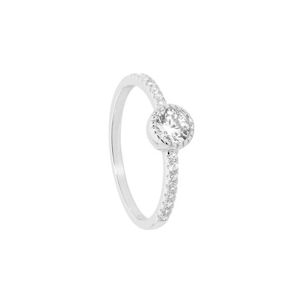 Ellani Stg Silver 5mm white CZ crown set solitaire ring with CZ band