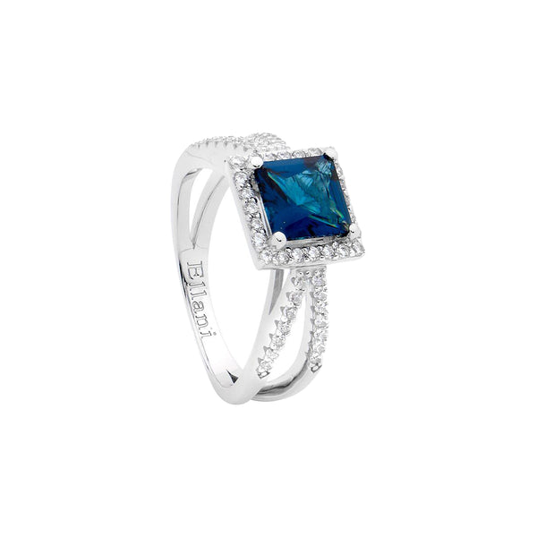 Ellani Stg Silver London blue 7mm princess CZ Ring with white CZ surround & split band