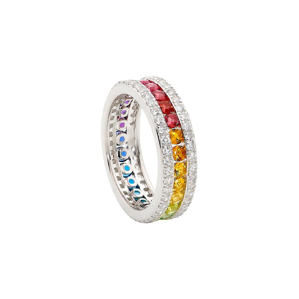 Ellani Stg Silver multi colour CZ channel set ring with white CZ surround