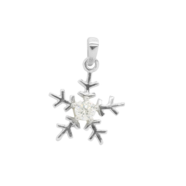 9k White Gold CZ Snow Flake Pendant with Sterling Silver Chain