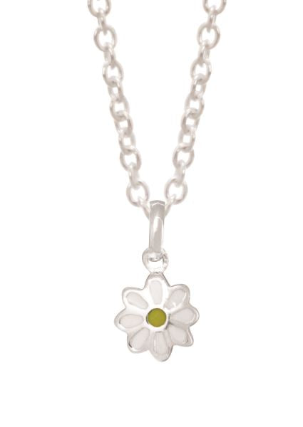 Stg Silver Enamel Daisy Children Pendant with Stg Silver Chain 40cm