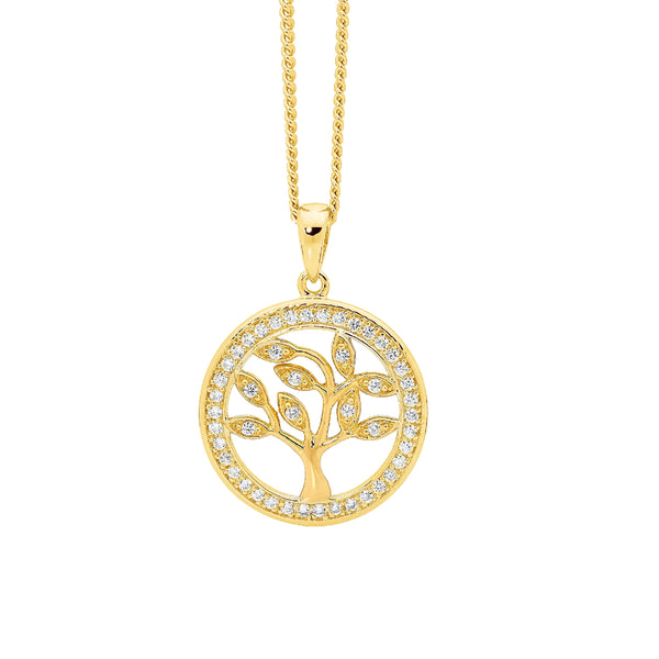 Ellani Stg Silver whit CZ small 'TREE OF LIFE' pendant with white CZ surround & GP