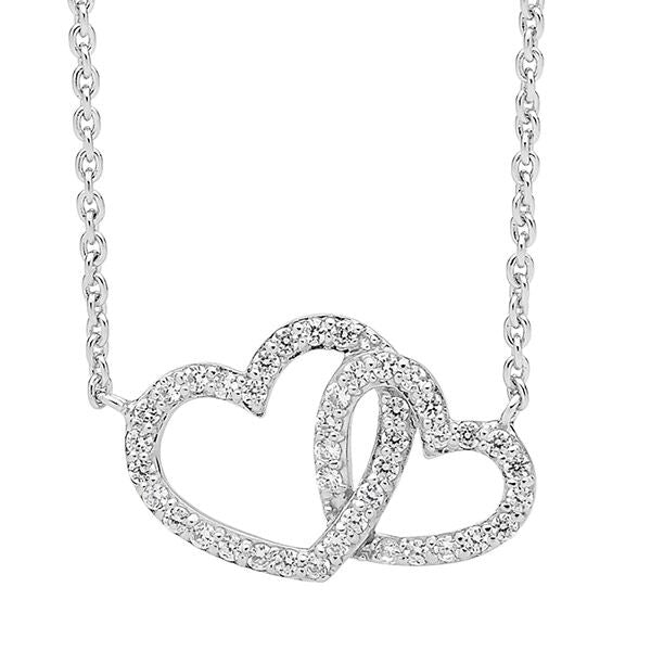 Ellani Stg Silver white CZ double heart pendant with attached chain