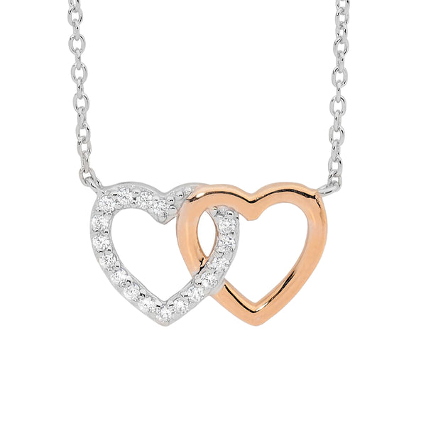 Ellani Stg Silver white CZ double linked heart Pendant attached with chain RG plated