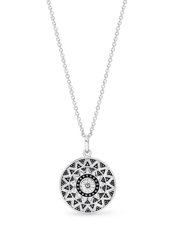 Stg Silver Round Detailed Maya Disc Pendant with 45cm Stg Silver Ball Chain