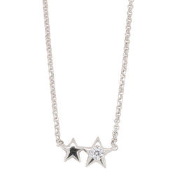 Stg Siler Rhodium Plated STAR Necklace