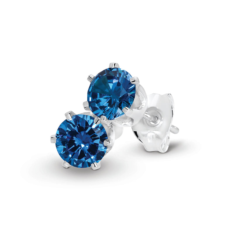 Stg Silver 5mm Blue CZ Claw Set Stud Earrings
