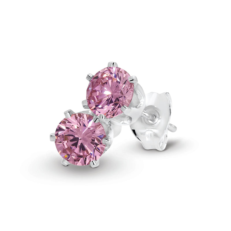 Stg Silver 5mm Pink CZ Claw Set Stud Earrings